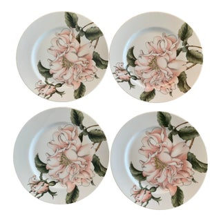 1970s Summer Rose Fitz and Floyd Set of 4 Small Plates For Sale