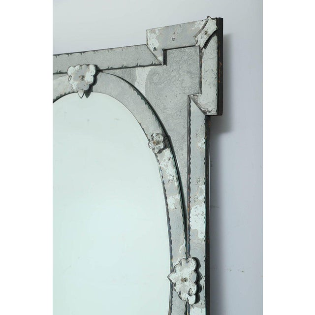 Art Deco 1940's Venetian Mirror With Elegant Shield Form Hand Etched Designs For Sale - Image 3 of 8
