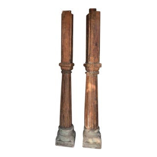 Antique Rustic Wood & Stone Columns - A Pair For Sale