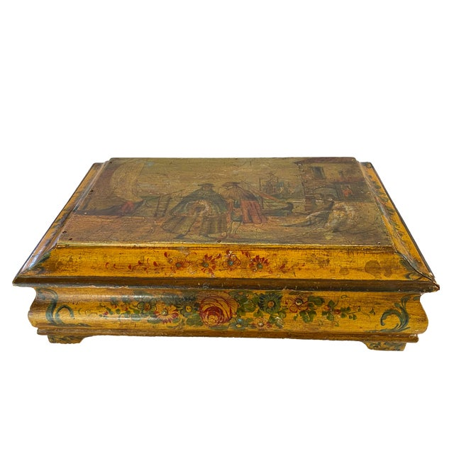 19th Century Painted Italian Letter Box For Sale