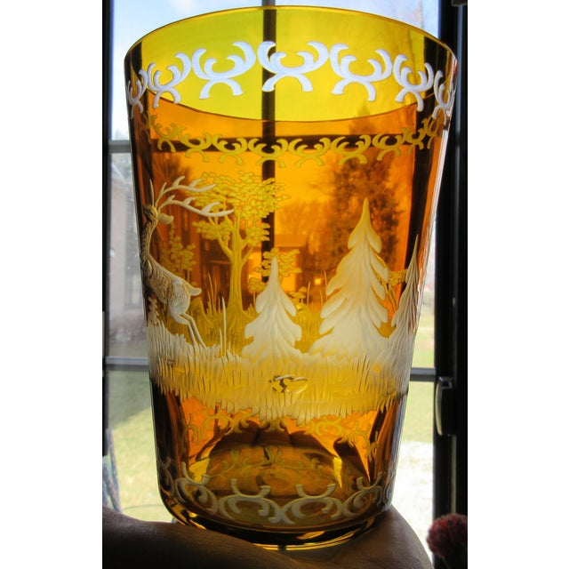 Czech Etched Amber Glass Tumbler - Image 2 of 7