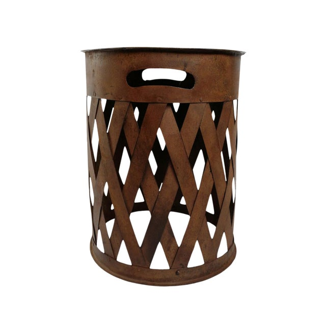 Vintage Iron Weave Stool For Sale