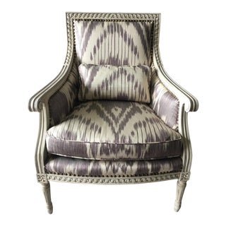 Oly Studio Hanna Bergere Armchair Upholstered in Ikat For Sale