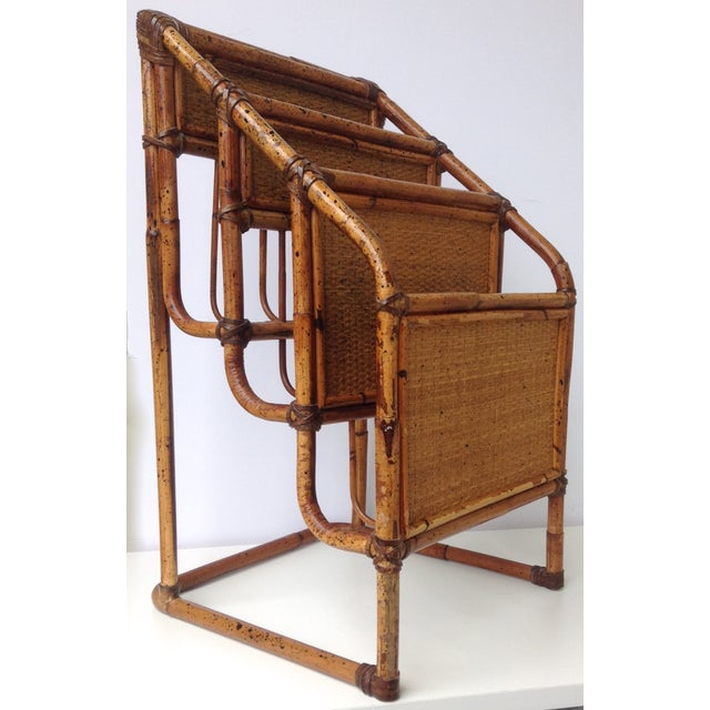 Vintage Bamboo Leather-Wrapped Magazine Stand - Image 3 of 11