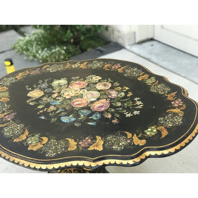 Napoleon III Period Chinoiserie With Abalone and Mother of Pearl Inlay Pedestal Tea Table For Sale - Image 4 of 8