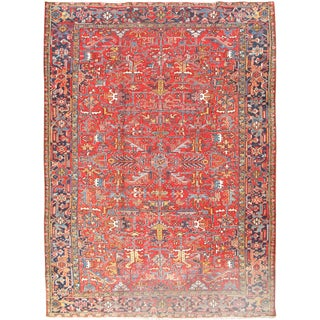 Vintage Persian Heriz Hand Woven Rug - 8′4″ × 11′5″ For Sale