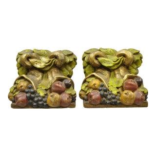 Pair of Vintage Ceramic Painted Cornucopia Fruit Harvest Art Deco Bookends For Sale
