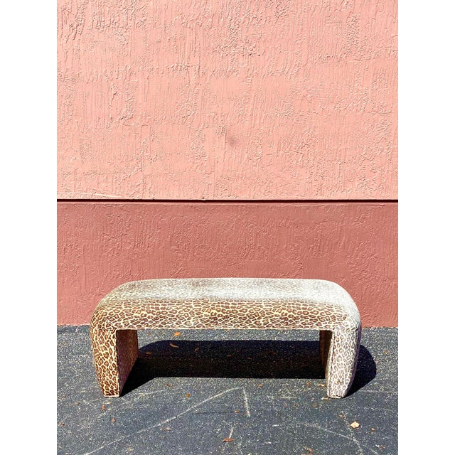 Coffee Contemporary Leopard Velvet Waterfall Bench For Sale - Image 8 of 10
