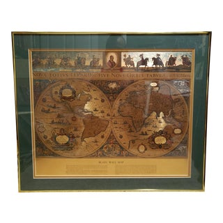 Vintage C. 1970 Framed Gold Foil Blaeu Wall Map For Sale