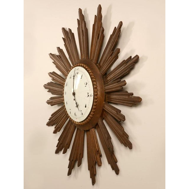 French Sunburst Clock with Porcelain Face For Sale - Image 11 of 11