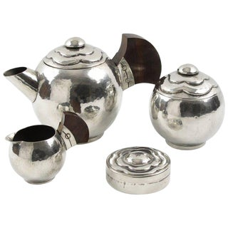 French Art Deco Polished Pewter Tea or Coffee Set by Pierre-Lucien Dumont For Sale