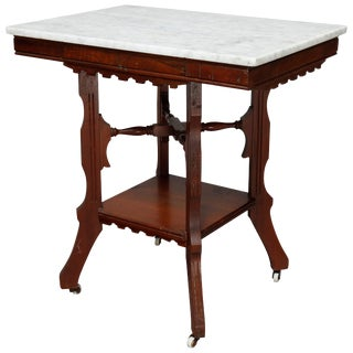 Antique Victorian Eastlake Carved Walnut & Beveled Marble Side Table For Sale