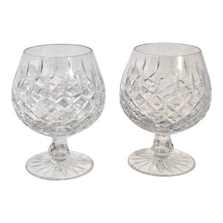 """Vintage Bohemian """"Style"""" Barware Brandy Snifter / Cognac Cut Crystal Glasses - a Pair For Sale"""