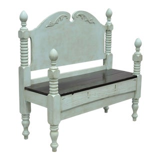 1900s Shabby Chic Mint Wood Foyer/Entry Bench