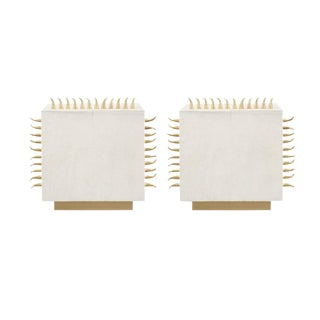 Cream Leather with Brass Spikes End Table - a Pair For Sale