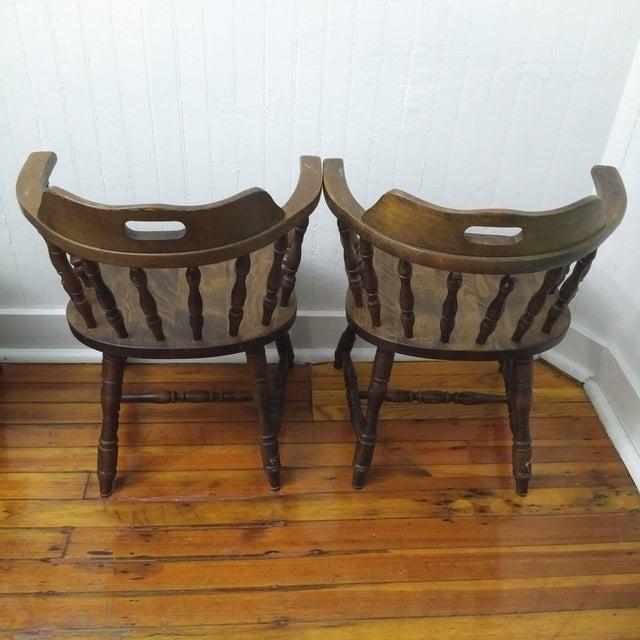 1950s 1950s Vintage Yugoslavian Barrel Back Windsor Captain Chairs - Set of 4 For Sale - Image 5 of 8