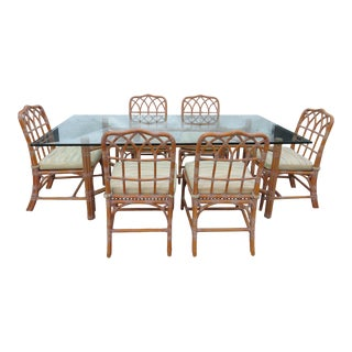 Vintage Boho Chic McGuire Dining Set - 7 Pieces For Sale