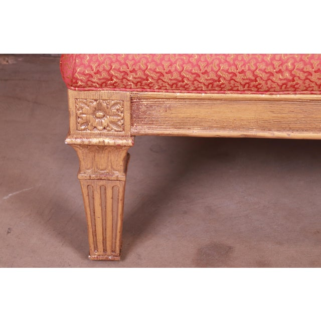Wood Baker Furniture French Louis XVI Gilt Upholstered Bench, Circa 1960s For Sale - Image 7 of 13
