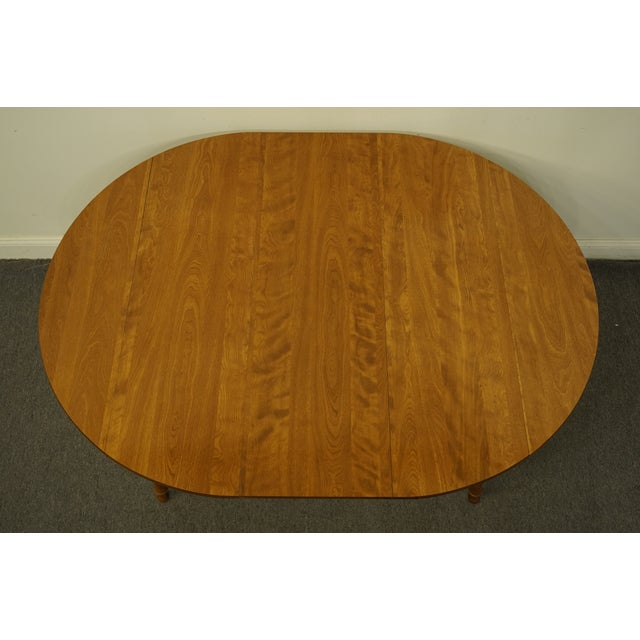 "Vintage Ethan Allen Heirloom Nutmeg Maple 29"" Round Drop Leaf Dining Table For Sale - Image 10 of 12"