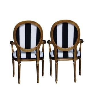 1990s Vintage French White and Black Stripe Gold Louis XVI Chairs - a Pair Preview