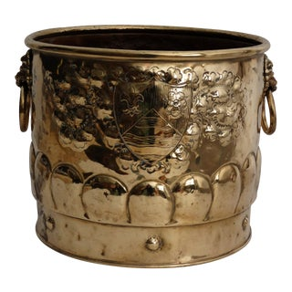 Antique French Brass Armorial Log Bucket For Sale