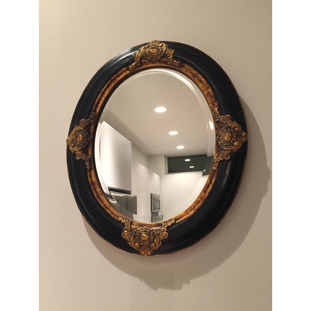 Beveled Black & Gilded Mirror - Image 4 of 8