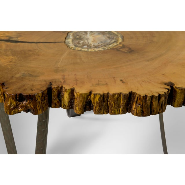 Petrified Wood Inlay Sycamore Table For Sale - Image 4 of 8
