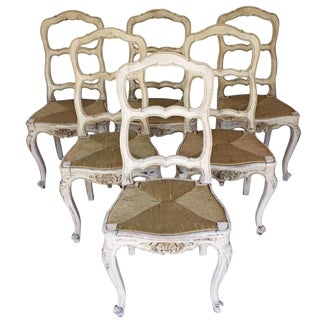 Early 19th Century Antique Louis XV Style Painted French Provincial Chairs - Set of 6 For Sale