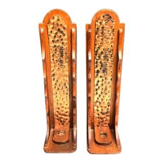 Brutalist Wood & Copper Candle Sconces - a Pair For Sale