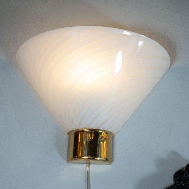 Art Deco Mid-Century Handblown Striated Murano Glass and Brass Sconces by Fabbian - a Pair For Sale - Image 3 of 8