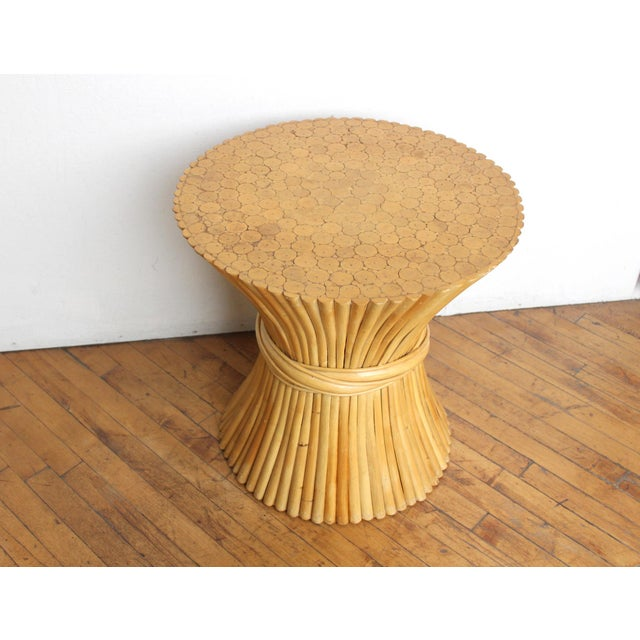 Boho Chic McGuire Wheat Sheaf Side Table- Rattan and Bamboo End Table For Sale - Image 3 of 6