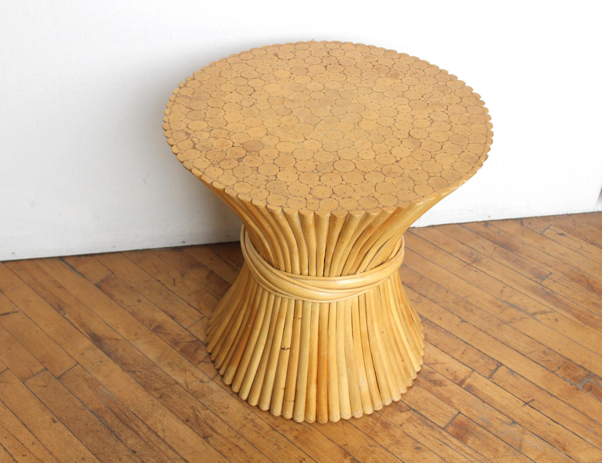 McGuire Wheat Sheaf Side Table  Rattan And Bamboo End Table   Image 3 Of 6