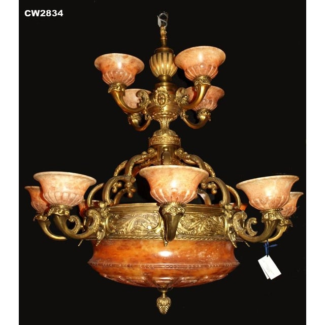 Antique Two-Tiered Gilt Bronze and Alabaster Chandelier - Image 2 of 7