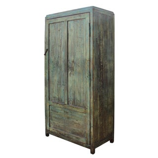 Chinese Distressed Blue & Green Tall Iron Lock Armoire Preview