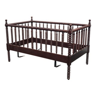 Vintage French Country Barley Twist Brown Baby Crib Bed Mid Century Modern For Sale