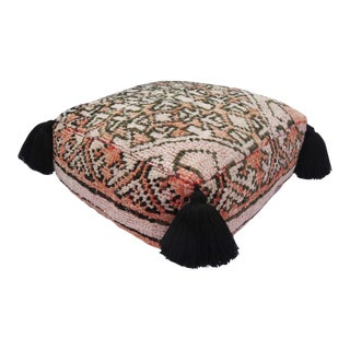 Vintage Coral and Black Pouf For Sale