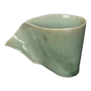 1970s Organic Modern Studio Pottery Pitcher With Celadon Glaze For Sale