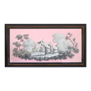 Vintage Chinoiserie Painting of Children Playing Painted in Grisailles on Pink Background For Sale