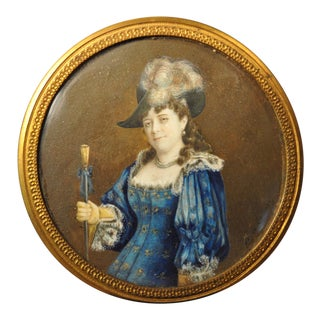 "19th C. Miniature Portrait ""Woman in Blue Dress With Walking Stick"" Painting by v. Lebrun For Sale"