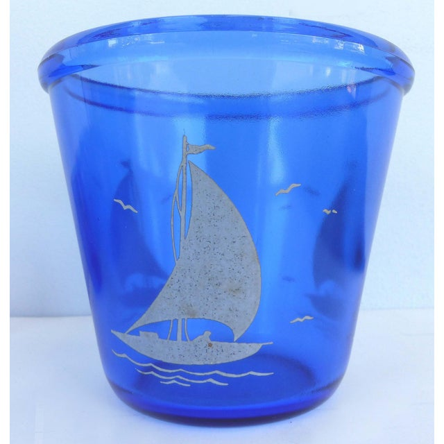 1930s Cobalt Martini Shaker, Ice Bucket & Glasses - Set of 8 For Sale - Image 9 of 10