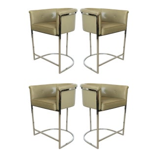Set of Four Cantilevered Milo Baughman Style Chrome Bar Stools For Sale