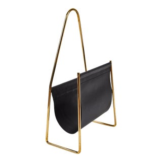 Carl Auböck Model #3808 Brass and Leather Magazine Rack For Sale