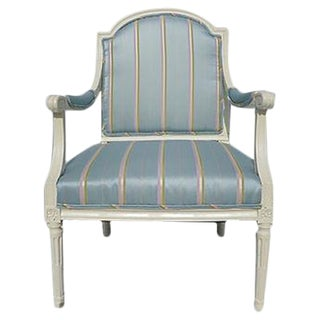 Antique French Style Blue & White Accent Chair For Sale