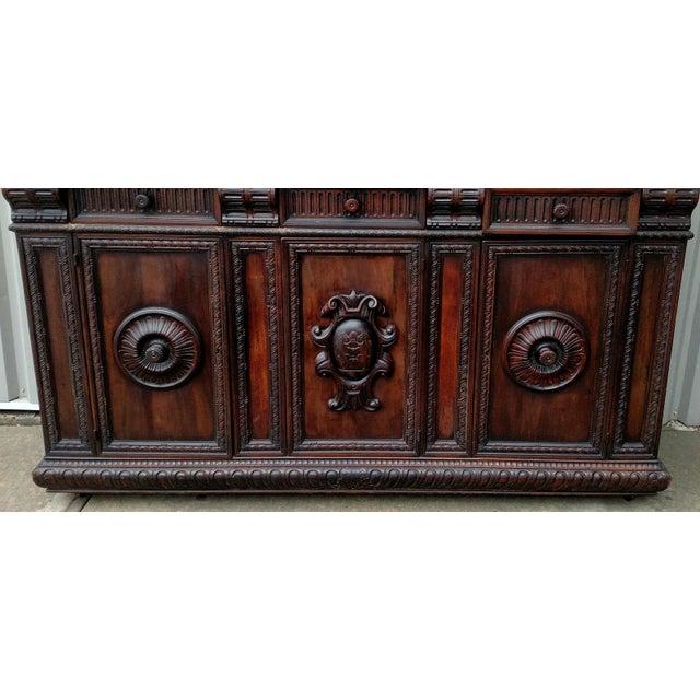 19th C. Renaissance Revival Figural Carved 3 Door Sideboard Server - Image 5 of 10