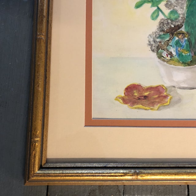 Vintage Original Still Life 1940's Watercolor Signed For Sale - Image 4 of 6