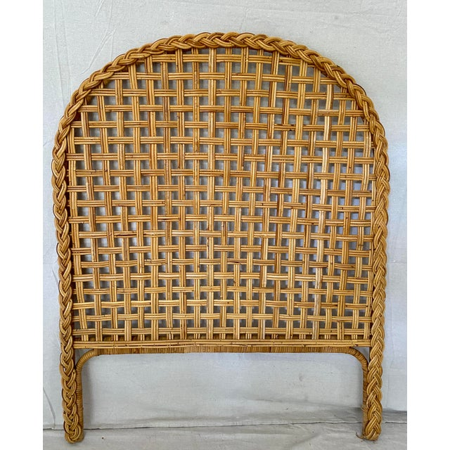 Late 20th Century Vintage Woven Braided Rattan Headboards- a Pair For Sale - Image 5 of 13