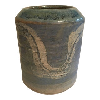 1960s Boho Chic Pottery Vase For Sale