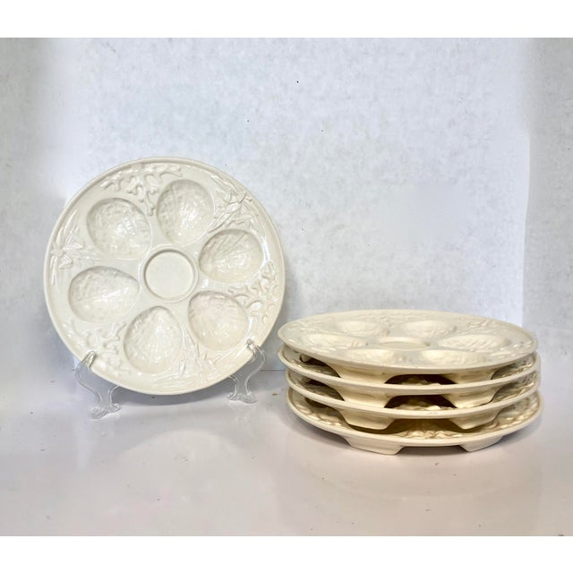Vintage Cream Embossed Czechoslovakia Oyster Plates - Set of 5 For Sale - Image 4 of 8