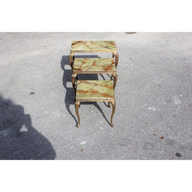 Maison Jansen 1940s French Maison Jansen Bronze Onyx Top Nesting Tables - Set of 3 For Sale - Image 4 of 13