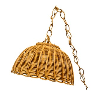 Vintage Hanging Wicker Swag Lamp For Sale